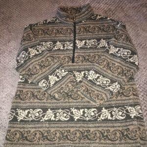 Beige Gray Print Fleece 1/4 Zipper Pullover